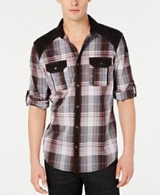 INC International Concepts Men's Faux Suede Shoulder Pieced Casual Plaid Shirt