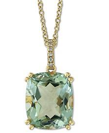 "EFFY® Green Quartz (5-1/4 ct. t.w.) & Diamond Accent 18"" Pendant Necklace in 14k Gold"
