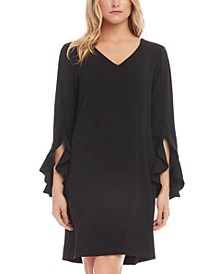 Ruffle-Sleeve Shift Dress