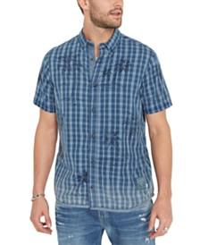 Buffalo David Bitton Men's Plaid Palm Tree Shirt