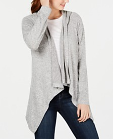 Hooked Up by IOT Juniors' Cozy Hooded Open-Front Cardigan