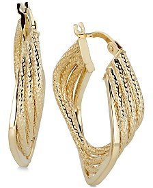 Italian Gold Geometric Twist Hoop Earrings in 14k Gold