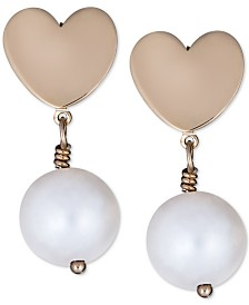 Italian Gold Cultured Freshwater Pearl (7mm) Heart Drop Earrings in 14k Gold