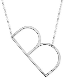 "Silver-Plated Hammered Initial 18"" Pendant Necklace"