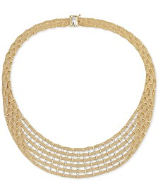 "Italian Gold Two-Tone Brick Link 17"" Statement Necklace in 14k Gold & White Gold"
