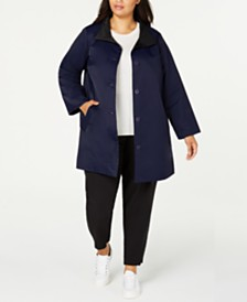 Eileen Fisher Plus Size Stand-Collar Reversible Coat