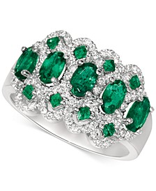 Emerald (1-1/2 ct. t.w.) & Diamond (1/3 ct. t.w.) Ring in 14k White Gold