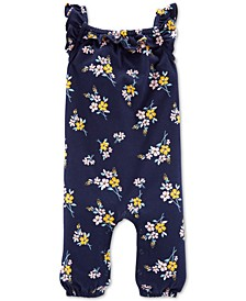 Baby Girls Floral-Print Cotton Jumpsuit