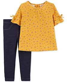 Carter's Toddler Girls 2-Pc. Floral-Print Top & Denim Leggings Set