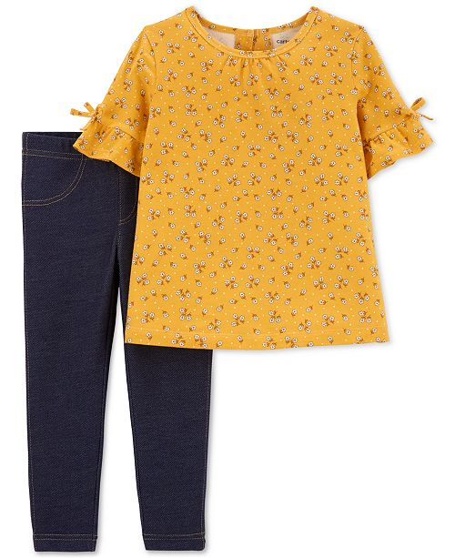 Carter's Toddler Girls 2-Pc. Floral-Print Top & Denim Leggings Set