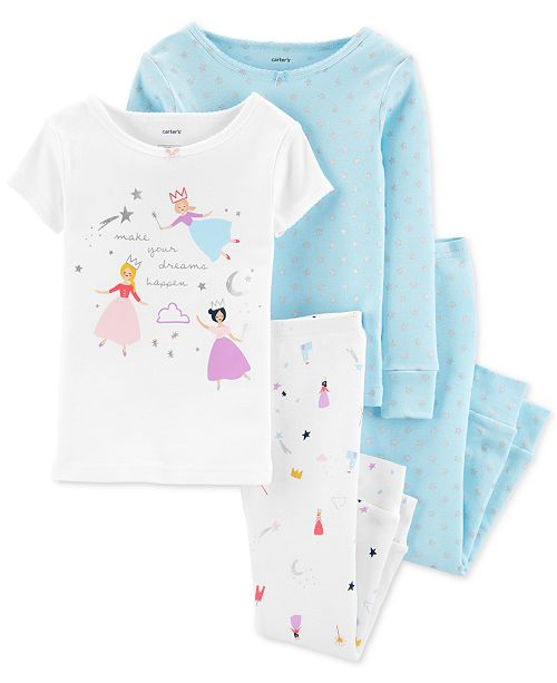 Carter's Toddler Girls 4-Pc. Cotton Princess Pajama Set