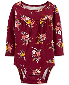 Baby Girls Floral-Print Cotton Bodysuit
