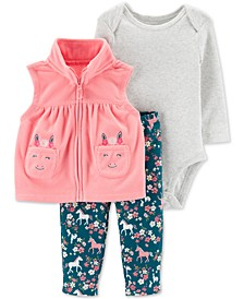 Baby Girls 3-Pc. Microfleece Vest, Bodysuit & Horse-Print Pants Set
