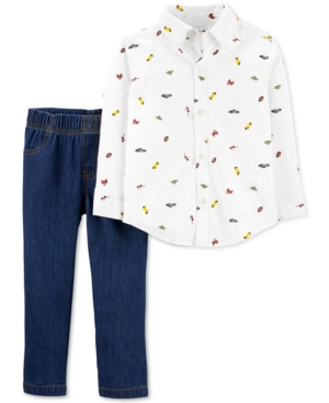 Carter's Baby Boys 2-Pc. Cotton Schiffli Button-Front Top & Jeans Set