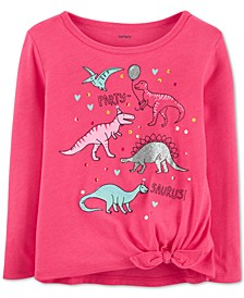 Toddler Girls Dinosaur-Print Tie-Front T-Shirt