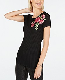 INC Embellished Floral-Patch Sweater, Created for Macy's