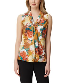 Tahari ASL Petite Floral-Print Sailor-Neck Top