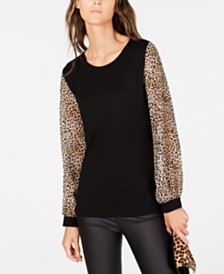 I.N.C. Printed-Sleeve Top, Created for Macy's