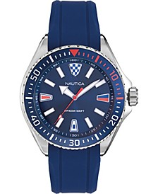Men's NAPCPS901 Crandon Park Blue/Silver Silicone Strap Watch
