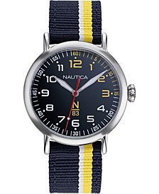 N83 Men's NAPWLS907 Wakeland Blue/Yellow Stripe Fabric Strap Watch