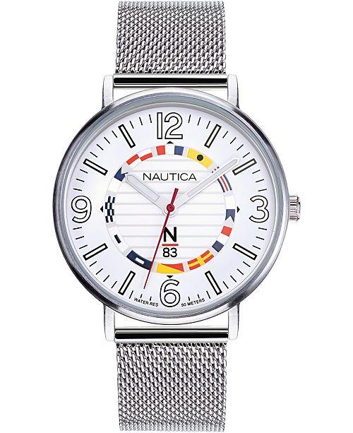 Nautica N83 Men's NAPWGS905 Wave Garden Silver/White Stainless Steel Mesh Band Watch
