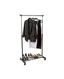 Single Tier Adjustable Height Rolling Garment Rack