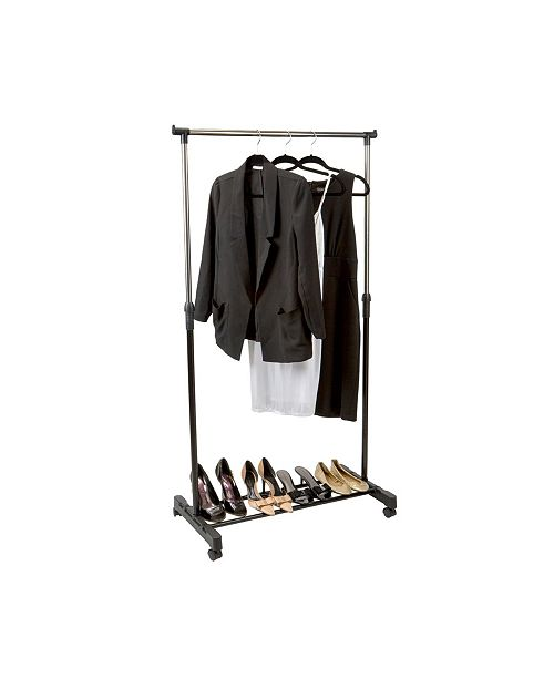 Simplify Single Tier Adjustable Height Rolling Garment Rack