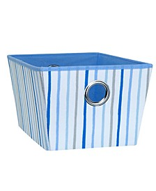 Kids Large Grommet Storage Bin in Painterly Blue Stripe