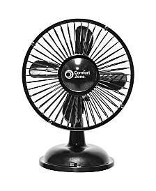 Comfort Zone Cz5Usbbk Battery/Usb Oscillating Desk Fan