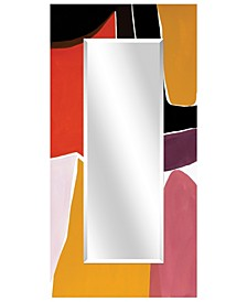 "Rectangular Beveled Mirror on Free Floating Reverse Printed Tempered Art Glass - 72"" x 36"""