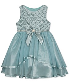 Little Girls Embellished Basket-Weave Dress