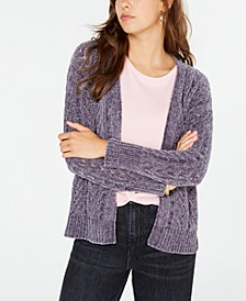 Juniors' Pointelle-Knit Chenille Cardigan