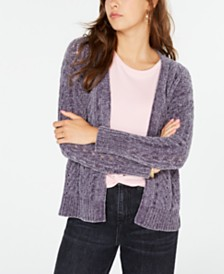 Hippie Rose Juniors' Pointelle-Knit Chenille Cardigan
