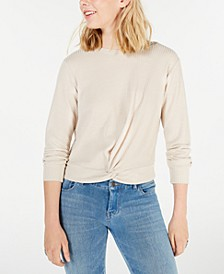 Juniors' Twist-Front Waffle-Knit Top