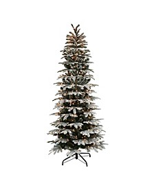 International 7.5 ft. Pre-Lit Slim Flocked Aspen Fir Artificial Christmas Tree with 450 UL Clear Lights