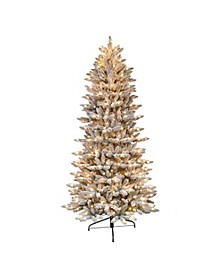 International 7.5 ft. Pre-Lit Flocked Slim Fraser Fir Artificial Christmas Tree with 500 UL-Listed Clear Lights