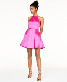 ead7e78be B Darlin Juniors' Halter-Top Pleated-Skirt Dress