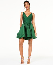 Blondie Nites Juniors' Double-Tier Fit & Flare Dress