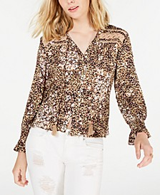Juniors' Lace-Inset Top, Created for Macy's