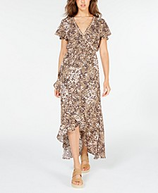 Juniors' Printed Faux-Wrap Maxi Dress, Created for Macy's