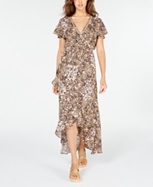 American Rag Juniors' Printed Faux-Wrap Maxi Dress, Created for Macy's