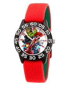 EwatchFactory Boy's Marvel's Super Hero Adventure Hulk, Falcon, Iron Man, Widow, Thor, Captain America Red Plastic Time Teacher Strap Watch 32mm