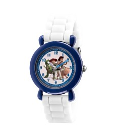 EwatchFactory Boy's Disney Toy Story 4 Woody, Buzz, Jessie, Rex, Hamm White Plastic Time Teacher Strap Watch 32mm