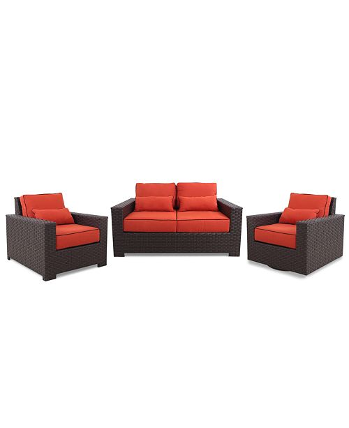Furniture San Lucia Outdoor 3 Piece Seating Set: 1 Loveseat, 1 Lounge Chair and 1 Swivel Chair