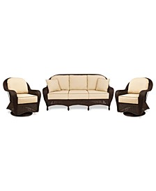 Monterey Outdoor Wicker 3-Pc. Seating Set with Sunbrella® Cushions  (1 Sofa and 2 Swivel Gliders), Created for Macy's