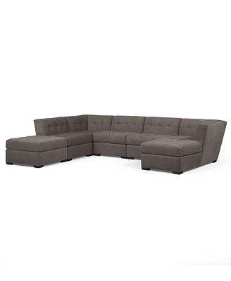 Roxanne Fabric 6 Piece Modular Sectional Sofa with Ottoman
