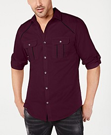 INC Men's Piped Grid-Pattern Shirt, Created for Macy's