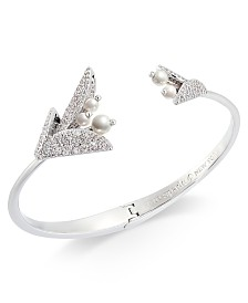 Kate Spade New York Silver-Tone Pavé & Imitation Pearl Flower Cuff Bracelet