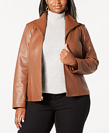 Cole Haan Plus Size Leather Jacket
