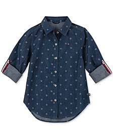 Big Girls Star-Print Cotton Denim Shirt